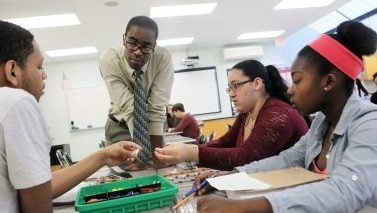 Jarred Phillips teaches about DNA replication in his classroom at Pemberton High School in Pemberton, N.J.