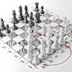 Chess. White board with chess figures on it. Plan of battle.