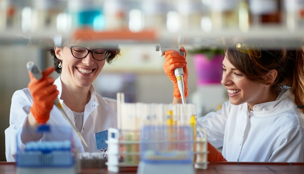 A young female students enjoy while pipetting in a sterile laboratory environment. Science, chemistry, lab, people